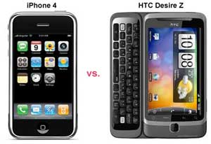 iphone 4 vs htc desire z