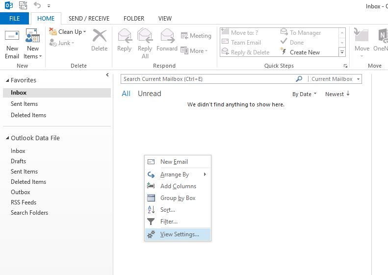 outlook view settings