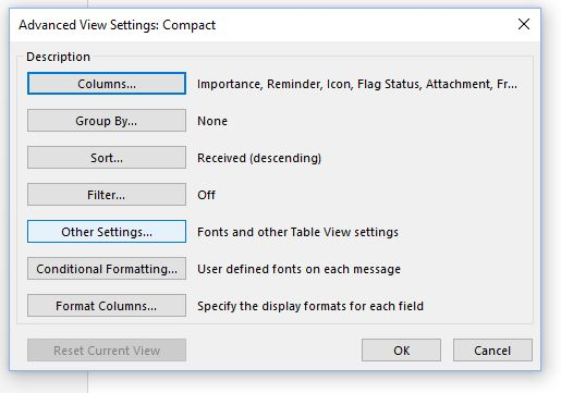 other settings outlook to increase font size of inbox