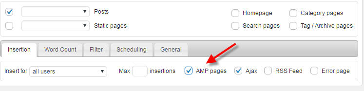 ad code on amp pages