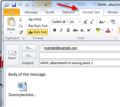 format tab outlook