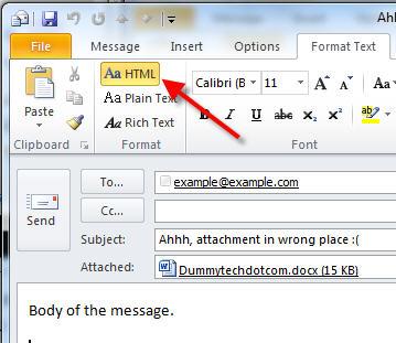 html format outlook