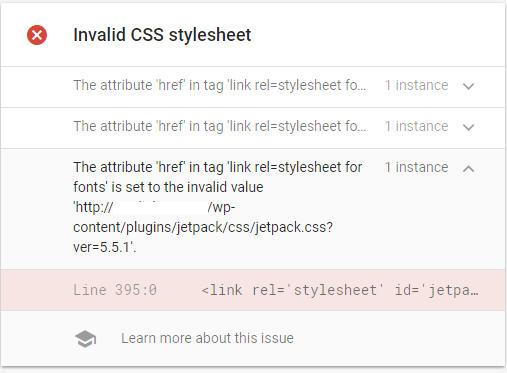 invalid-css-stylesheet-jetpack-amp-error