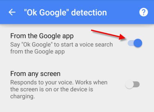 toggle off to remove ok google