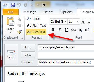 rich text format outlook