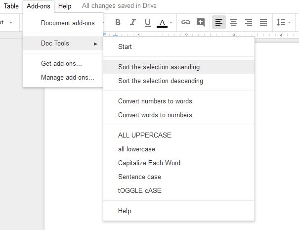 alphabetize in google docs using doc tools