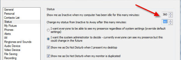 always appear active lync status times