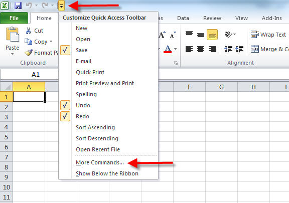 excel quick access more commands