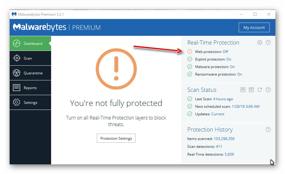 malwarebytes corporate protection disabled