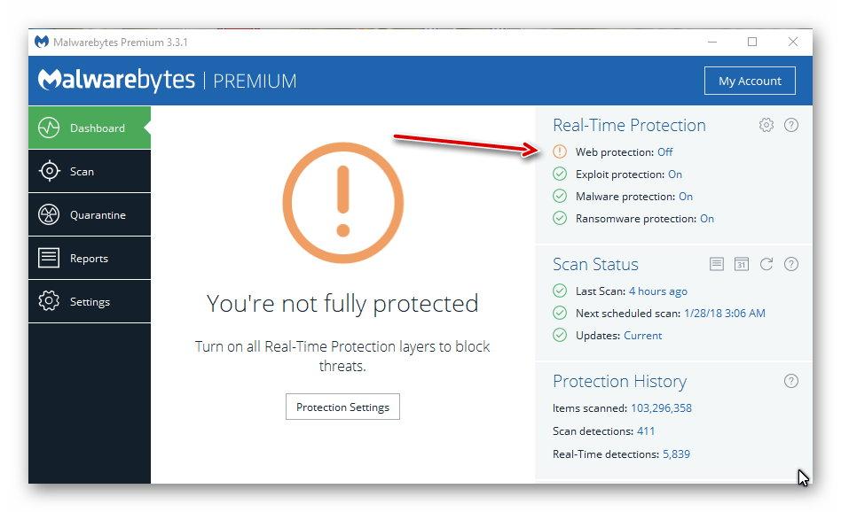 malwarebytes real time web protection off