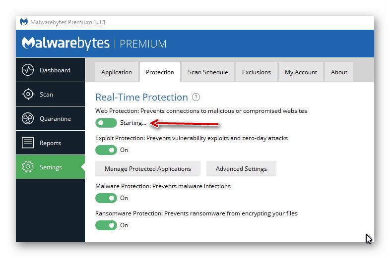 malwarebytes web protection starting