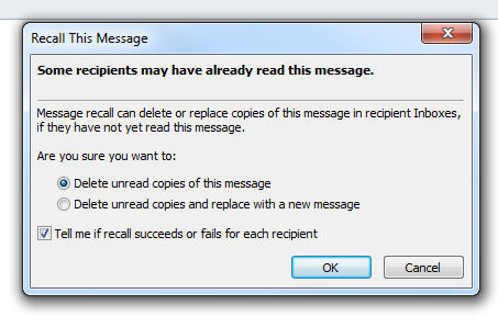 recall sent email dialog box