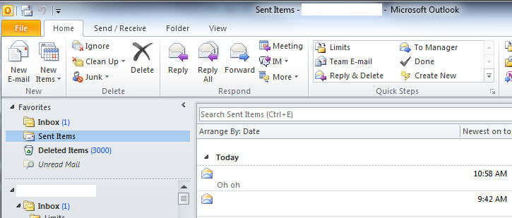 outlook 365 sent folder for recalling email