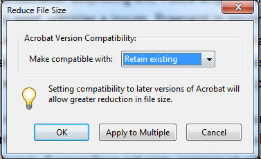 reduce pdf file size dialog box