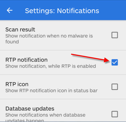 rtp notification check box uncheck