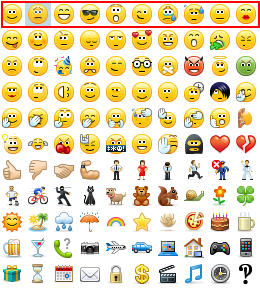 skype emoticons keyboard shortcuts row 1