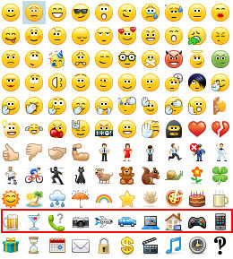 skype for business emoticons row 10