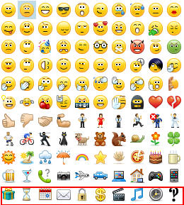 skype for business emoticons row 11