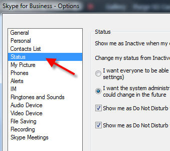 skype for business status menu