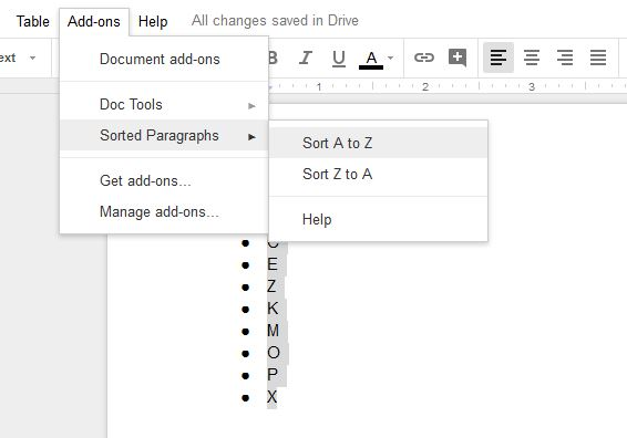 sort list alphabetically in google docs
