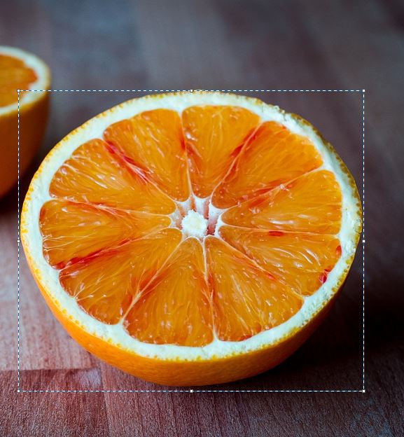 selected orange slice region for transparent background in paint