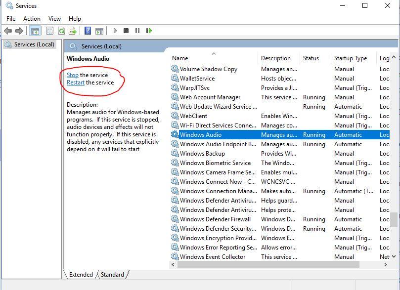 windows audio service stop start