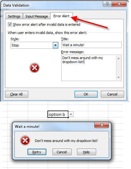 custom error message for dropdown lists in excel