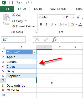 excel sort and filter icon grayed out data outside table