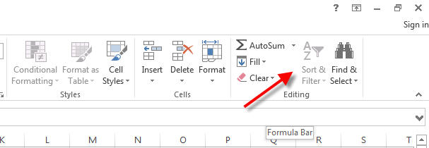excel sort and filter icon grayed out