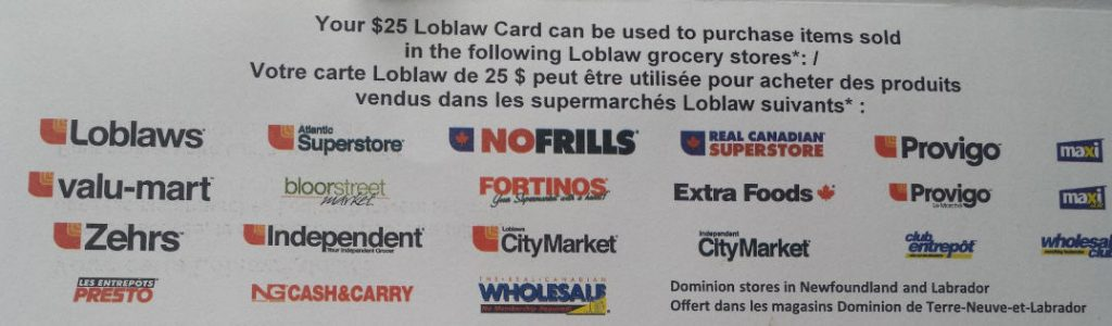 stores accepting loblaw $25 gift card