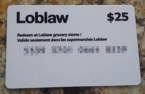 loblaw $25 gift card