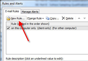 create new rule to forward emails in outlook