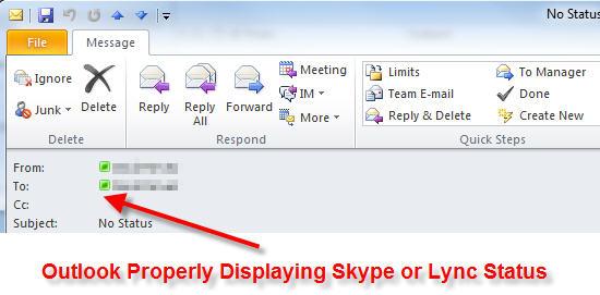 outlook showing skype lync status