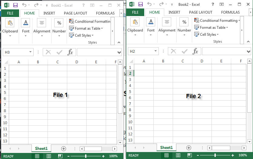 2 excel files in separate windows side by side