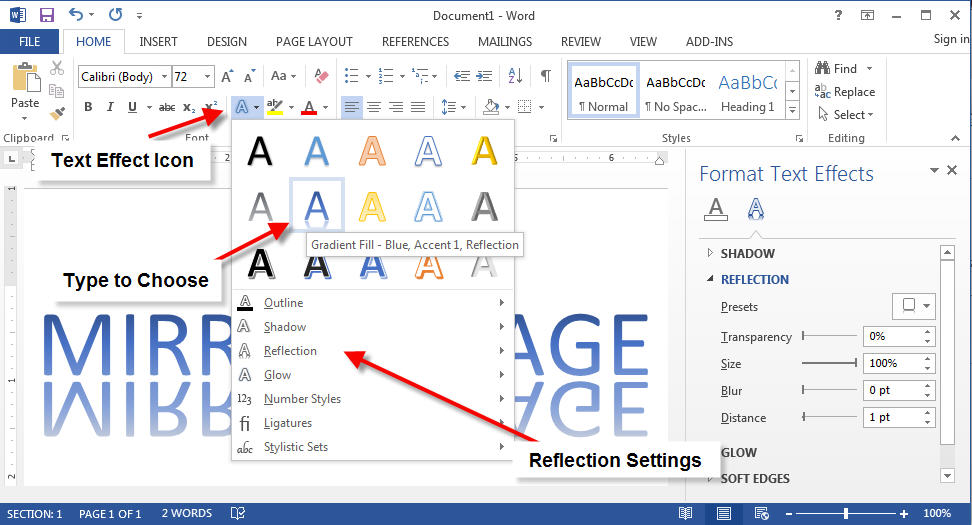 flip text like mirror image in word