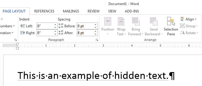 hidden text in word example
