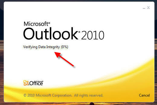 how to fix outlook verifying data integrity