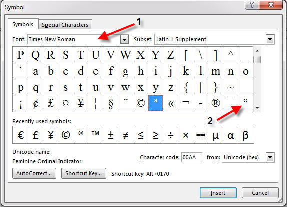 insert degree symbol from dialog box in word