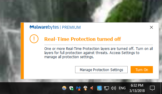 malwarebytes real time protection turned off