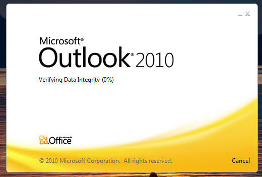 fix outlook verifying data integrity