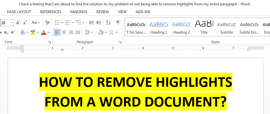 how to remove highlights from a word document featured