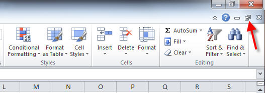 restore window icon to show 2 excel files