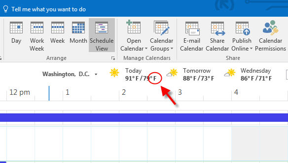 how to change fahrenheit to degree in outlook weather