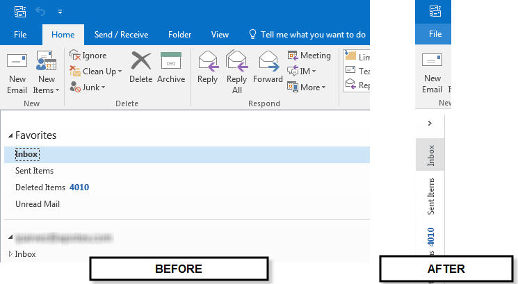 remove compact navigation outlook