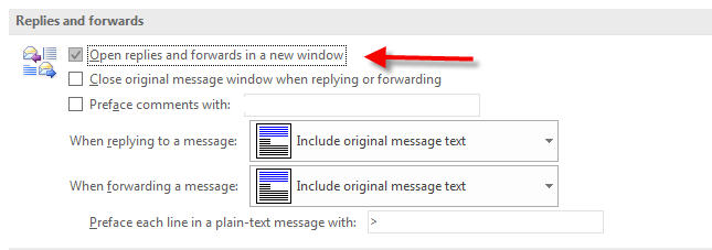 open new window when replying in outlook