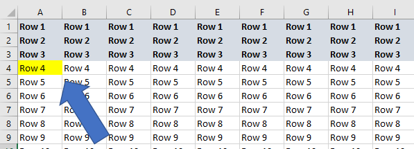 excel freeze multiple rows