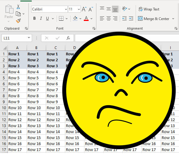 excel freeze pane more rows than selected
