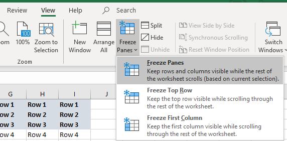 excel freeze panes