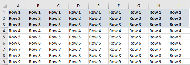 excel freezing rows