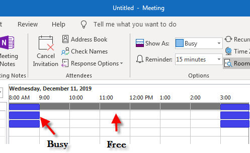 show free busy time on outlook 365